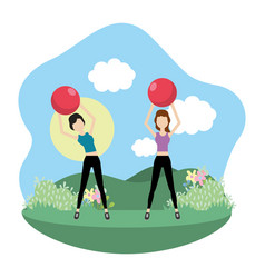 Young women exercising cartoon vector