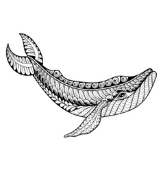 Zentangle Whale for adult anti stress vector image