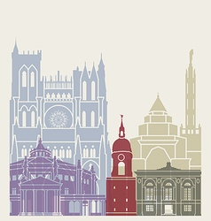 Amiens skyline poster vector image vector image