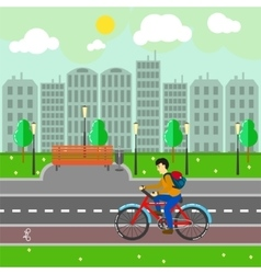 City landscape with buildings road and cyclist vector image vector image