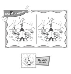 find 9 differences game wigwam vector image vector image