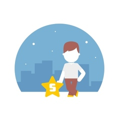 man have rated a five-star scale by content vector image