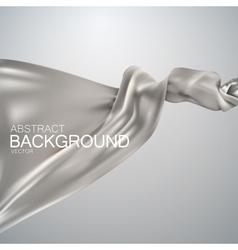 Silver silk fabric vector image