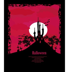 grungy Halloween background with haunted house vector image vector image