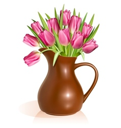 Pink tulips in clay pitcher vector image