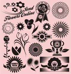 Set of flower symbols icons and signs vector image
