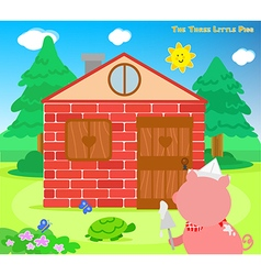 The three little pigs bricks house finished vector