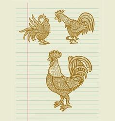 Vintage Decorative Rooster Sketches vector image