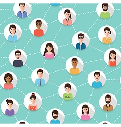 Connected people seamless pattern vector image vector image