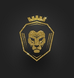 Glitter gold lion logo vector image vector image