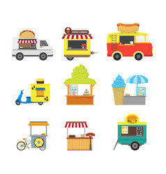 cartoon street food truck stall kiosk set vector image vector image