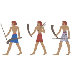 Set of three historic Egyptian soldiers vector image vector image