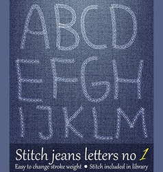 Stitched Jeans Letters vector image