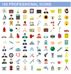 100 professional icons set flat style vector image