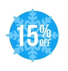 15 off sticker winter sale vector image