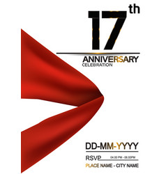 17 anniversary design with big red ribbon vector