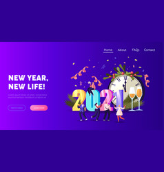 2021 happy new year celebration landing page vector