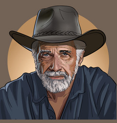 An old wise cowboy in a hat vector