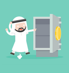 arab businessman paranoid because gold and money vector image