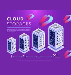 Arranged database storages on purple vector