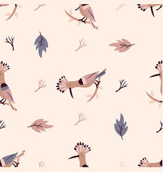 Autumn forest seamless pattern with hoopoes vector