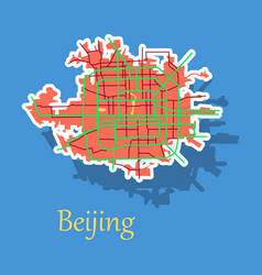 Beijing city map sticker vector