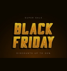 black friday sale banner golden shiny text vector image