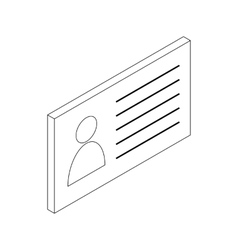 Business card icon isometric 3d style vector image