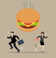 Business people run away from hamburger crisis vector image