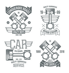 Car engine piston emblems vector