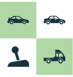 Car icons set collection of automobile stick vector