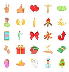 Care help icons set cartoon style vector