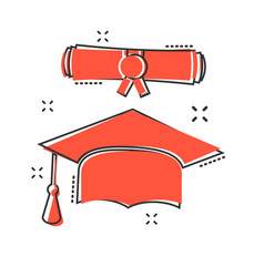 Cartoon graduation cap and diploma scroll icon in vector