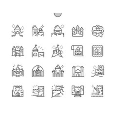 Castles and fortresses well-crafted pixel vector