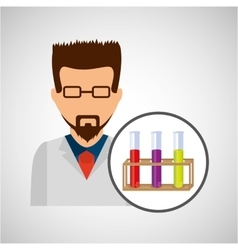 Character scientist chemistry test tube rack vector