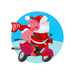 cheerful santa claus and pig on a red scooter vector image