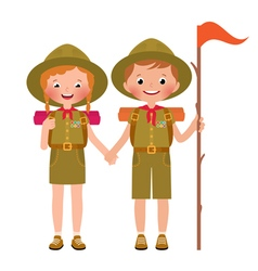 Children boy and girl scout vector