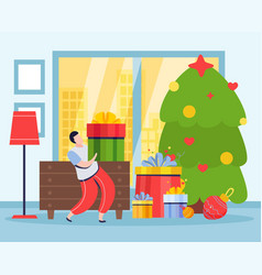 christmas tree gifts composition vector image