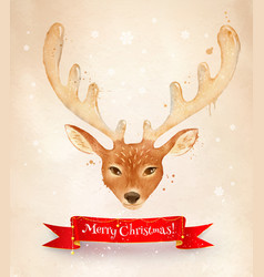 christmas vintage postcard with reindeer vector image
