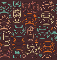 Coffee seamless pattern drinks background brown vector