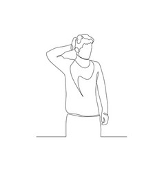 Continuous one line man is holding back his vector