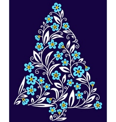 cute floral christmas tree vector image