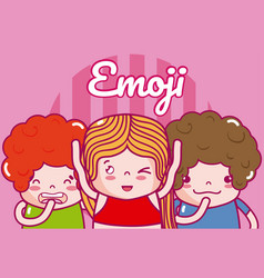 cute kids emojis vector image