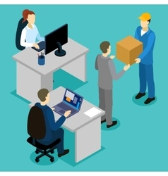 Delivery in office isometric composition vector