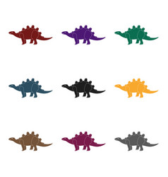 dinosaur stegosaurus icon in black style isolated vector image