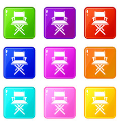 Director chair icons set 9 color collection vector