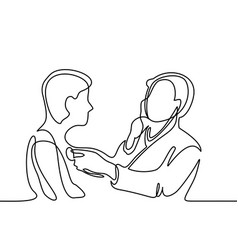 Doctor with stethoscope treat patient man vector
