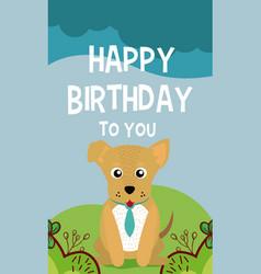 Dog cute animal birthday card vector