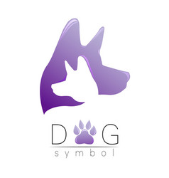 dog logo violet trend gradient silhouette vector image
