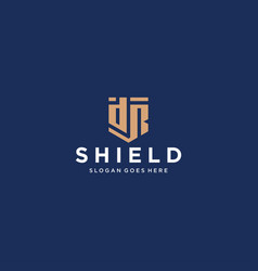 Dr letter shield icon vector